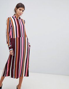 Read more about Y a s striped high neck midi dress with popper detail-multi