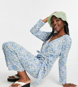 Read more about Y a s tall wrap jumpsuit in blue ditsy floral