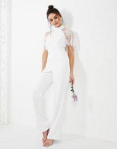 Read more about Y a s wedding jumpsuit with halterneck and lace detail in white
