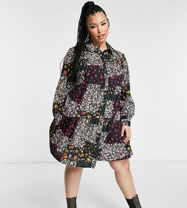 Read more about Yours patchwork tierred dress in multi floral