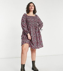 Read more about Yours square neck mini smock dress in pink floral