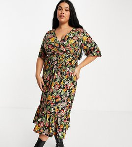 Read more about Yours wrap front midi dress in floral print-multi