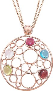 Read more about London road 9ct rose gold circular pendant necklace rose gold multi