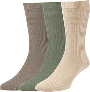 Read more about Hj hall cotton softop socks pack of 3 one size olive taupe