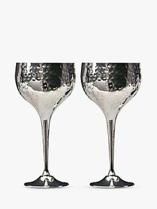 Read more about Culinary concepts hammered wine goblets box of 2 silver