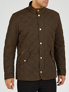 Read more about Barbour waxed quilted funnel neck jacket olive