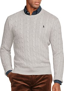 Read more about Polo ralph lauren cable knit crew neck jumper light grey heather