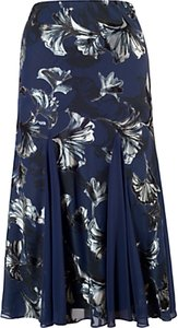 Read more about Chesca contrast trim fan print skirt navy
