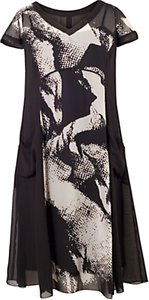 Read more about Chesca abstract print dress black ivory