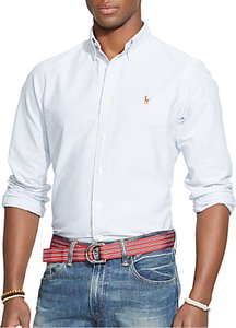 Read more about Polo ralph lauren striped oxford shirt blue white