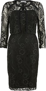 Read more about Gina bacconi floral cord embroidery dress and jacket black