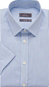 Read more about John lewis cotton twill stripe regular fit short sleeve shirt white blue