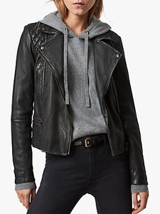 Read more about Allsaints leather cargo biker jacket black grey