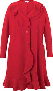 Read more about Chesca flounce trim wool coat red
