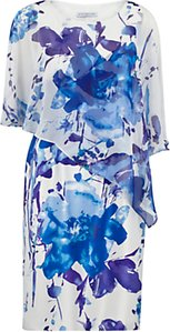Read more about Gina bacconi printed chiffon and satin dress lilac blue