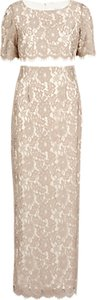 Read more about Gina bacconi scallop flower lace on crepe maxi dress beige
