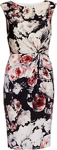 Read more about Gina bacconi floral print textured jersey dress coral