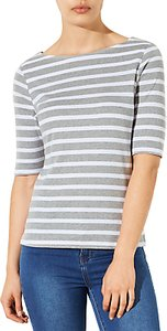 Read more about John lewis breton stripe half sleeve t-shirt grey white