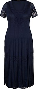Read more about Chesca border lace crush pleat dress navy