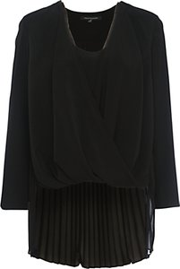 Read more about French connection polly plains long sleeved v-neck top black