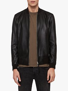 Read more about Allsaints mower leather bomber jacket black