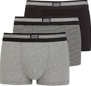 Read more about Jockey stretch cotton trunks pack of 3 black grey