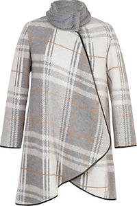 Read more about Chesca check cable knit collar coat grey ivory