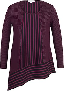 Read more about Chesca double stripe print tunic top aubergine black