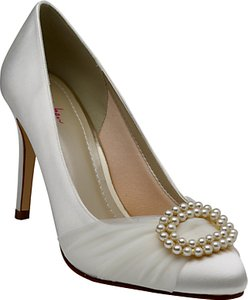 Read more about Rainbow club beatrice satin and tulle faux pearl stiletto heel court shoes ivory