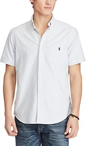 Read more about Polo ralph lauren standard fit short sleeve striped oxford shirt blue white