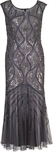 Read more about Chesca beaded mesh dress dark grey