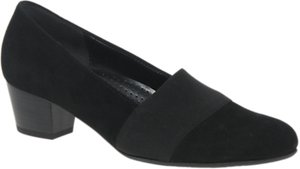 Read more about Gabor sovereign wide fit block heeled court shoes black suede