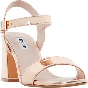 Read more about Dune mylow block heeled sandals rose gold