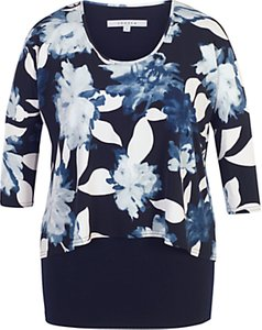 Read more about Chesca floral print layered jersey tunic top navy