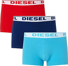 Read more about Diesel stretch cotton plain trunks pack of 3 red navy blue