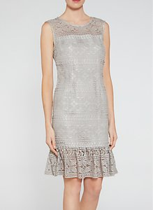 Read more about Gina bacconi antique foiled lace panelled embroidery dress taupe