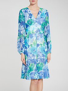 Read more about Gina bacconi abstract print dress blue green