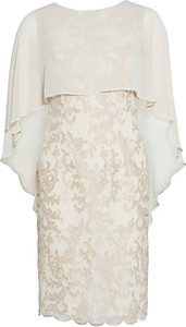 Read more about Gina bacconi corded lace dress and chiffon cape butter cream