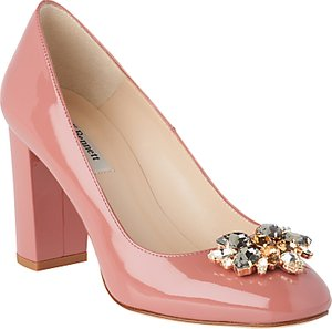 Read more about L k bennett tonnia jewelled block heeled court shoes dark pink