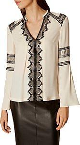 Read more about Karen millen embroidered v neck blouse ivory