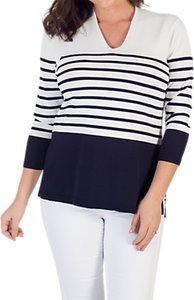 Read more about Chesca stripe v-neck jumper ivory navy