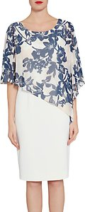 Read more about Gina bacconi crepe dress with printed chiffon cape navy nude