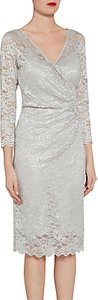Read more about Gina bacconi antique metallic stretch lace dress silver