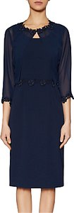 Read more about Gina bacconi crepe dress and chiffon jacket with guipure trim spring navy