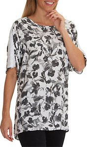 Read more about Betty barclay floral print tunic top white grey