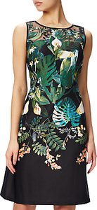 Read more about Adrianna papell laser cut scuba a-line dress black multi