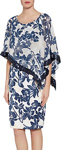 Read more about Gina bacconi printed satin dress with chiffon cape navy nude