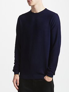 Read more about Kin by john lewis tipped merino jumper navy