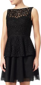 Read more about Adrianna papell lace detail peplum dress black