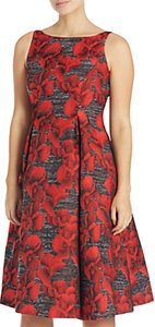 Read more about Adrianna papell petite sleeveless floral jacquard tea length dress black crimson